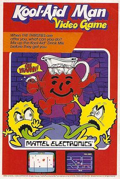 Mattel Kool-Aid Man video game for Atari 2600 and Intellivision Retro Gaming Ad Vintage Video Games, Classic Video Games, Vintage Games, Vintage Toys, Retro Games, Funny Vintage, Make A Video Game, Video Game News, Video Game Art