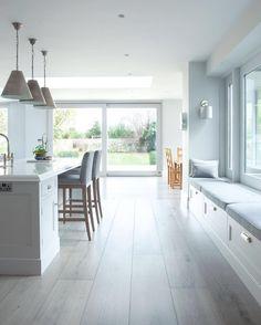 Style inspiration  #kitchen #white #grey #neutral #modern #statementlighting #island #extension #design #interiordesign #interior123 #interiors #interiorstyling