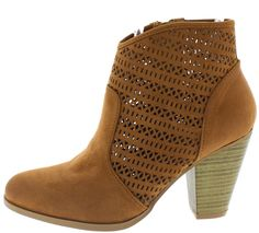 NIXON09 CAMEL CLOSED TOE CUT OUT STACKED HEEL BOOT ONLY $14.88