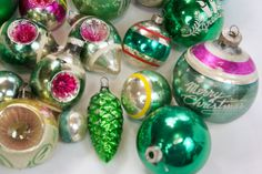 24 Vintage Green and Pink Christmas Tree Ornaments on Etsy, $68.00 Rose Vintage, Vintage Green, Pink Christmas Tree, Christmas Tree Ornaments, Tis The Season, Special Events, Rest, Seasons, Unique Jewelry