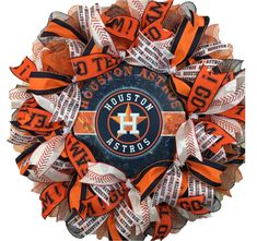 Houston Astros Wreath for front door with deco mesh & ribbon, Houston Texans Wreath, Houston Astros, Baseball Wreaths, Sports Wreaths, Deco Mesh Ribbon, Deco Mesh Wreaths, Wreath Crafts, Diy Wreath, Baseball Party Decorations