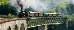Heritage steam train on the Bohinj rail line between Jesenice and Kanal