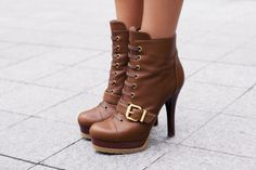brown leather ankle boots, buckles, high heels, fashion