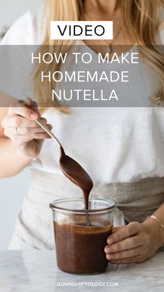 (dairy-free, vegan, paleo) How to make homemade nutella. A delicious, healthier alternative with a step-by-step tutorial video. Clean Recipes, Sweet Recipes, Real Food Recipes, Cooking Recipes, Yummy Food, Vegan Sweets, Healthy Sweets, Vegan Desserts, Paleo Dessert