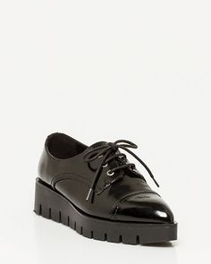 Patent Lug Sole Oxford - A glossy patent oxford shoe features the season's catwalk stomping lug soles. Stella Mccartney Elyse, Oxford Shoes, Wedges, Fashion, Moda, Fashion Styles, Fashion Illustrations, Wedge, Wedge Sandals