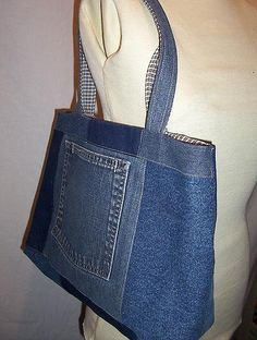 Recycled Denim Patchwork Tote