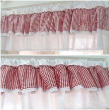 1 painel 40cmH * 150cmW coreano poliéster / algodão xadrez cama borda do laço decorativo cortina café cortina de cozinha cortina(China (Mainland))