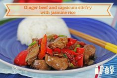 Ginger beef and capsicum stir-fry with jasmine rice Ginger Beef, Jasmine Rice, Beef Dishes, Stir Fry, Fries, Meals, Dinner, Recipes, Food