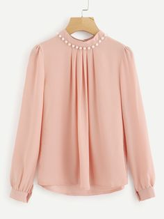 At A Sheek Boutique we have fashion Pearl Beading Puff Sleeve Pleated Chiffon Pink High Neck Long Sleeve Elegant Blouses Look Fashion, Hijab Fashion, Fashion Outfits, Fashion Spring, Womens Fashion, Kurta Designs, Blouse Designs, Sleeves Designs For Dresses, Stylish Dresses For Girls