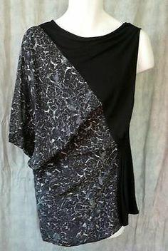 Leith Mixed Media Ultra Rhino Print Tunic Top Sz L Silk Viscose Knit
