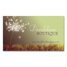 Dandelion Unique Fashion Salon Business Cards for Fashion Designers, Stylists, Makeup Artists, Image Consultants, Cosmetologists.