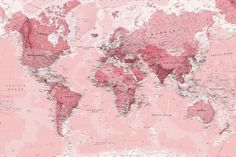 Pink World Map Wall Mural, custom made to suit your wall size by the UK's for wall murals. Custom design service and express delivery available. design klassisch Pink World Map Wallpaper Mural Wallpaper Für Desktop, Wallpaper Notebook, Aesthetic Desktop Wallpaper, World Map Wallpaper, Office Wallpaper, Macbook Wallpaper, Computer Wallpaper, Wallpaper Backgrounds, Laptop Backgrounds