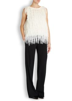 DKNY ivory acrylic blend open-knit top Textured fringing Slips on 45% acrylic, 39% alpaca, 16% wool; fringe: 100% polyester