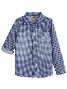 SHIRT ACHECK :                     A very trendy shirt for your little boy            ACHECK shirt, shirt collar, long roll-up sleeves with buttoned cuffs, contrast cuff lining, pocket, checks, lining.