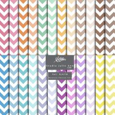 Chevron Digital Paper Pack Scrapbooking Paper Background Paper Printable Commercial Use Instant Download 24 colors Macaroon by StudioJulieAnn on Etsy