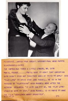 Christian Dior fitting Jane Russell.  Jane's measurements: 97-61-91 cm and 1.7 meters.