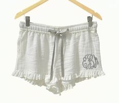 Monogram Pajama Shorts, Bridesmaid Gift, Bridesmaid Pajamas, Cotton Shorts, Cute PJ, Bridesmaids Gifts, Bride tribe Gifts, Cotton Payjamas Monogram pajama shorts great for sleep wear. These bridesmaids gifts shorts for women can me monogrammed in 42 thread colors. Cute comfy soft cotton