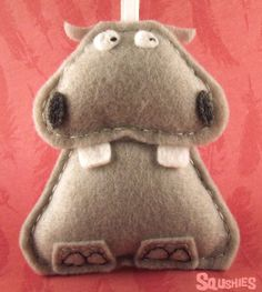 Felt Hippo Felt Animal Christmas Ornament Safari by Squshies
