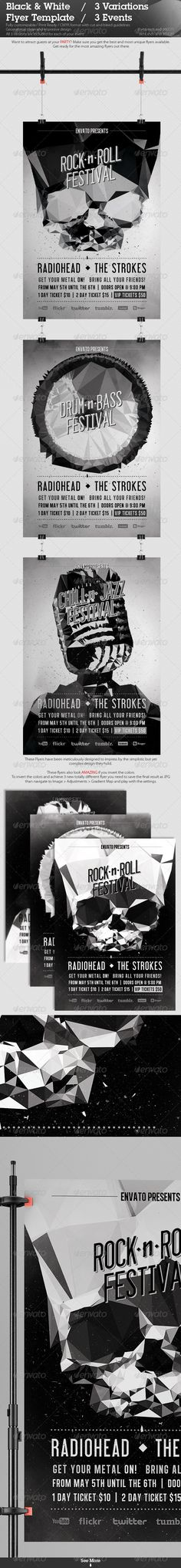 Bowling Extravaganza Flyer Template Flyer template and Print - black and white flyer template