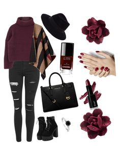 """""""Butgundy winter"""" by andreea-pug ❤ liked on Polyvore featuring Topshop, Burberry, MICHAEL Michael Kors, Maison Michel, Chanel and BERRICLE"""