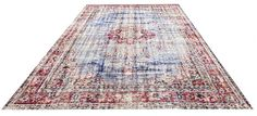 Red/Blue TURKISH OUSHAK RUG Home Decor Room Size Unique Hand