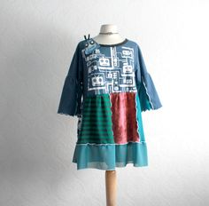 Science Geek Blue Tunic Top 1X 2X Plus Size Clothing Patchwork Babydoll Upcycled Clothes Teal Women's Shirt 'ROBOT LUV'. $69.00, via Etsy.