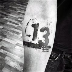 Number 13 Mens Abstract Inner Forearm Tattoo