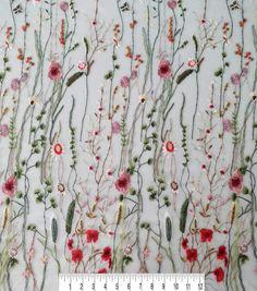 """Exquisite Crepe De Chine Poly Dressmaking Fabric /""""Airbrush/"""" Pink Floral Per Yd"""