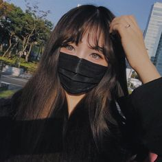 Cool Eyes and black Mask Ulzzang Korean Girl, Cute Korean Girl, Asian Girl, Aesthetic People, Aesthetic Girl, Aesthetic Photo, Baby Girl Hairstyles, Cute Hairstyles, Madison Beer Outfits
