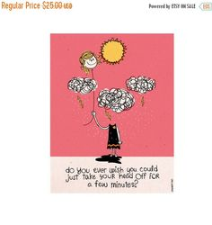 ON SALE NOW Do You Ever Wish Art Print Original by HarpAndSquirrel #etsy #art #original #cute #truelife