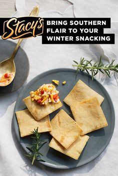 "Winter pairing from James Beard Award Winning Chef Mike Lata - ""There is not a holiday party that exists in the South that does not include pimiento cheese. It's a perfect holiday treat when paired with Stacy's® Simply Naked® Pita Chips."""