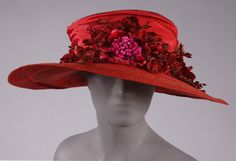 A gorgeous ruby red wide-brimmed hat from 1918. #vintage #Edwardian #hats