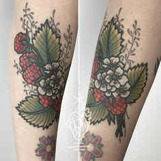 Anja came by to chat and I got this picture of her healed raspberry tattoo…