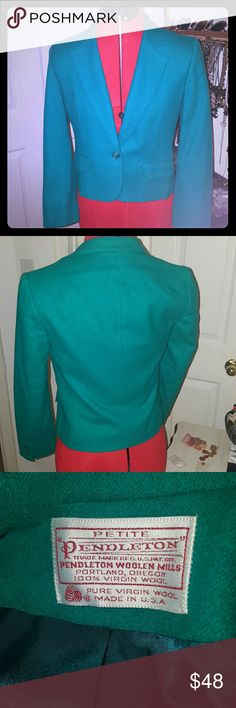 VINTAGE 100%Wool Jacket Super cute! Teal wool fitted jacket. Petite, small cut. Size 6 but fits more like a 4. No stains. Jacket hasn't been warned since the last time I got it dry cleaned. Pendleton Jackets & Coats Blazers