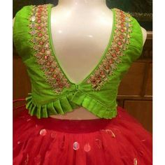 Stunning Back Neck Blouse Designs for Your Wardrobe - Kurti Blouse Kids Blouse Designs, Saree Blouse Neck Designs, Bridal Blouse Designs, Kids Lehenga, Stylish Blouse Design, Designer Blouse Patterns, Lehenga Blouse, Saree Dress, Lehenga Choli