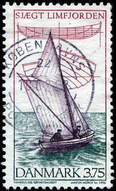 A stamp depicting a Limfjorden skiff, a type of wooden dinghy, designed and engraved by Martin Mörck, and issued by Denmark on June 15, 1996, Scott No. 1053, Facit No. 1155.