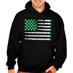 Weed Flag USA Flag Men's Pullover Hoodie Black S-5XL