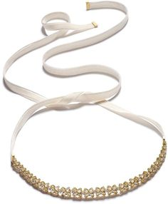 Kate Spade Gold-Tone Crystal Cluster Ribbon Choker Necklace
