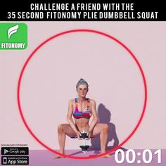 The dumbbell squat targets the quads and glutes, but also works the hamstrings and calves. Try it and share it with your friends! Squat Challenge, 30 Day Workout Challenge, Flexibility Workout, Strength Workout, Fun Workouts, At Home Workouts, Body Workouts, Workout Tips, Workout Plans