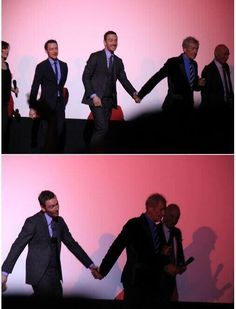 Michael Fassbender and Ian McKellen holding hands at the Xmen Premiere in London. lol
