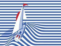 Float with me – boat by Feras Sobh dribbble ☘☘— Visit shop canvas Graphic Design CLIC HERE –☘☘ design portfolio design ideas Art And Illustration, Illustrations And Posters, Graphic Design Illustration, Graphic Art, Geometric Graphic, Pop Art Design, Flat Design, Line Design, Stripes Design