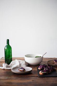 crostini w/ creme fraiche and purple cabbage | sunday suppers