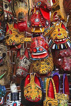 Masks, Mercado Artesanias (National Artisans Market), Masaya, Nicaragua, Central America
