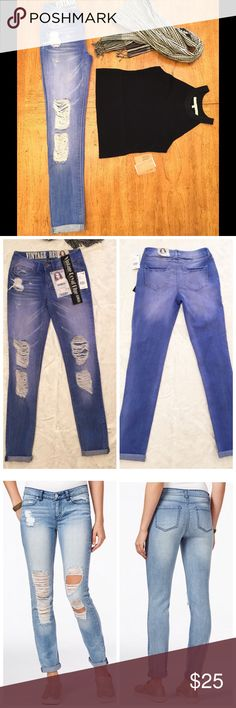 "Vintage Royal Blue Rewash Jeans NWT Absolutely adorable jeans that have two looks: roll the bottoms for a cropped look or lower the extra two inches for some edgy skinny jeans. Perfect for jeans for any time. Rise: 8"" Inseam: 28"" rolled or 30"" long. Size 0 or 24. Rewash Jeans"