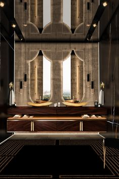 Bathrooms in dark colors are a huge trend, so the combination of black and golden can create an irreverent yet elegant feeling, that results in a space full of glamour and luxury. Koi, Gold Bathroom, Master Bathroom, Contemporary Bathrooms, Modern Bathroom, Luxury Bathrooms, Bathroom Trends, Bathroom Ideas, Bathroom Furniture