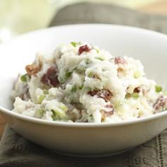 Add this Bacon Mashed Potatoes Recipe as a side dish to your Thanksgiving feast. #healthy #thanksgiving @EatingWell