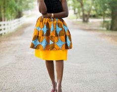 Orange and Red Record Midi Skirt African by MsAlabaAfricanShop