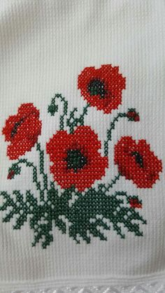 Cross Stitching, Cross Stitch Embroidery, Embroidery Patterns, Diy Crafts Hacks, Diy And Crafts, Baby Cross Stitch Patterns, Poppies, Creations, Drawings