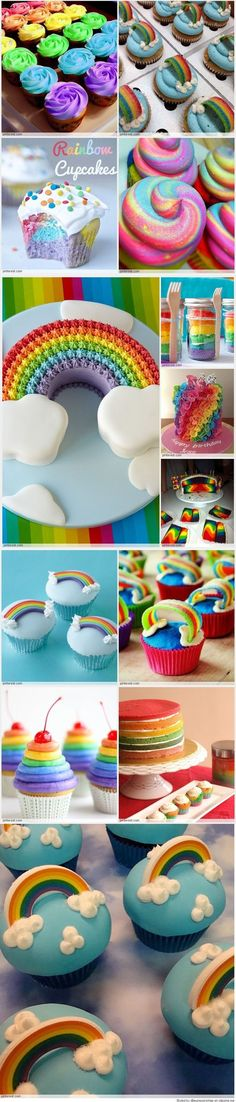 A rainbow cake is fun to look at and eat and a lot easier to make than you might think. Here's a step-by-step guide for how to make a rainbow birthday cake. Rainbow Treats, Rainbow Food, Cake Rainbow, Rainbow Stuff, Rainbow Birthday, Unicorn Birthday Parties, Birthday Cakes, Cake Cookies, Cupcake Cakes
