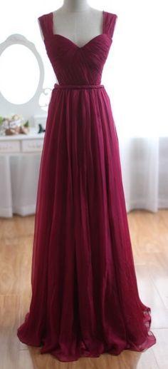 Long Chiffon Burgundy Prom Dress